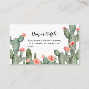 Succulent Peach Watercolor Diaper Raffle Enclosure Card