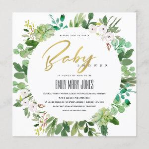 SUCCULENT WREATH FOLIAGE WATERCOLOR BABY SHOWER