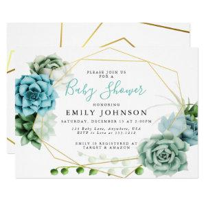 Succulents Baby Shower Invitation