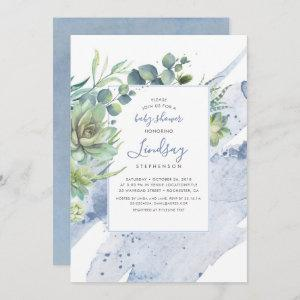 Succulents Greenery Dusty Blue Baby Shower