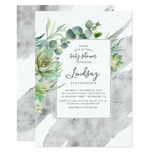 Succulents Greenery Silver Foil Baby Shower Invitation