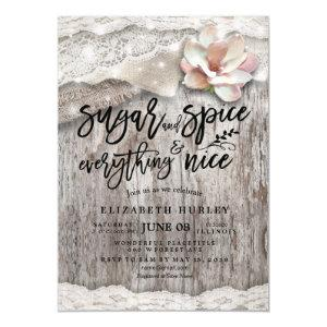 Sugar & Spice & Everything Nice Rustic Baby Shower Invitation