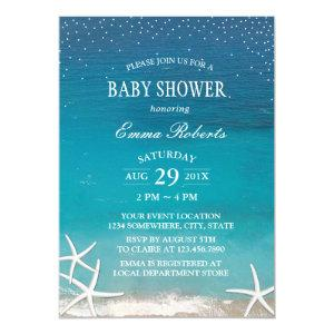 Summer Beach Starfish Luau Baby Shower Invitation