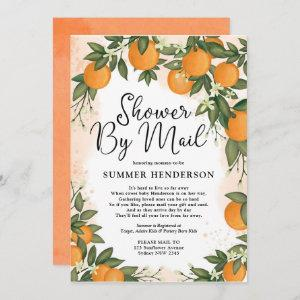 Summer Orange Citrus Greenery Baby Shower By Mail Invitation