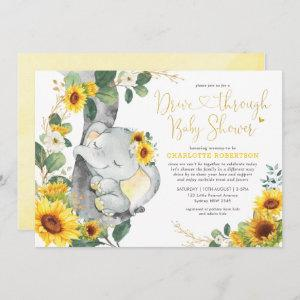 Summer Sunflower Elephant Drive By Baby Shower Invitation