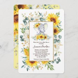 Summer Sunflowers Elephant Greenery Baby Shower Invitation