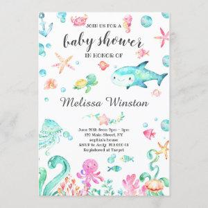 Summer Under the Sea Baby Shower Neutral Invitation
