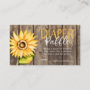 Sunflower Baby Shower Diaper Raffle Ticket Enclosure Card