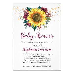 Sunflower Baby Shower Lights Floral Invitation