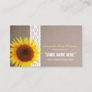 Sunflower Burlap & Lace Baby Shower Gift Registry Enclosure Card
