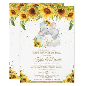 Sunflower Elephant Virtual Baby Shower by Mail Invitation