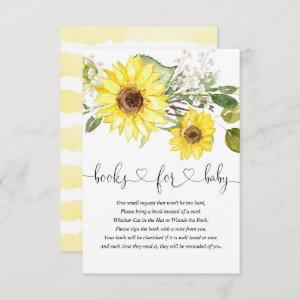 Sunflower greenery white yellow books for baby enclosure card