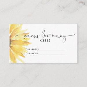 Sunflower guess how many kisses bridal game enclosure card