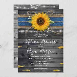 Sunflower Navy Blue Lace Rustic Wood Wedding Invitation