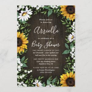 Sunflower Rustic Country Floral Fall Baby Shower