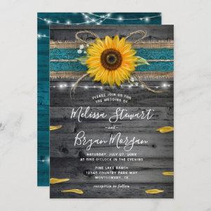 Sunflower Teal Burlap Lace Rustic Wood Wedding Invitation