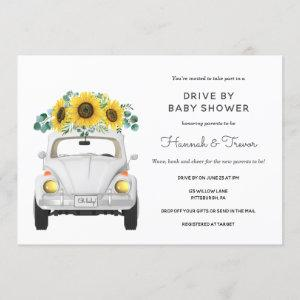 Sunflower White Car Drive By Baby Shower Invitation