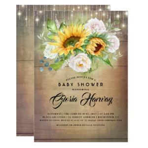Sunflowers and White Roses Rustic Baby Shower Invitation