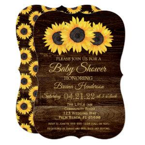 Sunflowers Baby Shower Invitation Rustic Wood