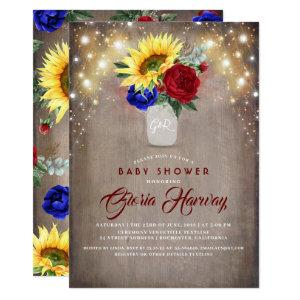 Sunflowers - Burgundy and Navy Blue Baby Shower Invitation
