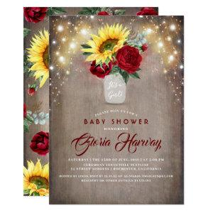 Sunflowers Burgundy Red Rustic Fall Baby Shower Invitation