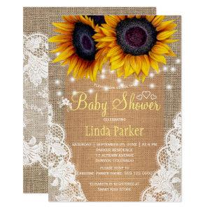 Sunflowers burlap and lace autumn baby shower invitation