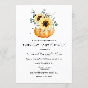 Sunflowers in Pumpkins Autumn Drive by Baby Shower Invitation