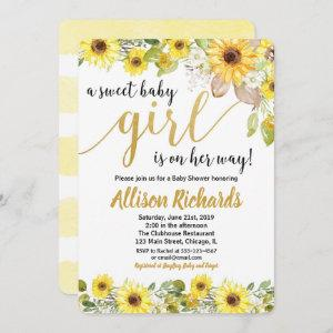Sunflowers yellow baby shower invitation for girl