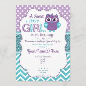 Super Cute Purple Teal Owl Invitation Baby Shower