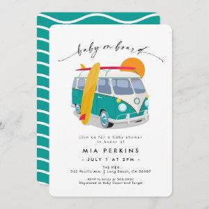 Surfing Surfboard VW Bus Teal Baby Shower