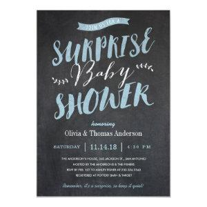 Surprise Baby Shower Invitations - Chalkboard Blue
