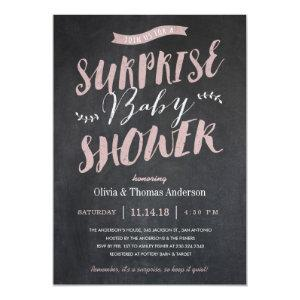 Surprise Baby Shower Invitations - Chalkboard Pink