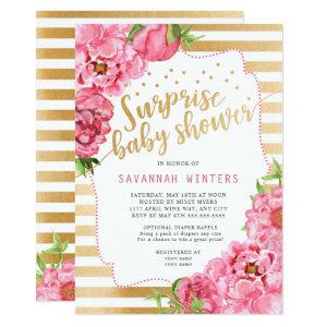 Surprise Baby Shower  |  pink gold peonies Invitation