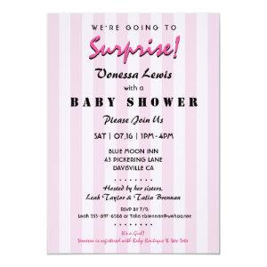 Surprise Baby Shower Pink Stripes Invitation