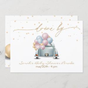 Surprise Drive By Gold Baby Shower Parade Invitation