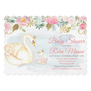 Swan Floral Baby Shower Invitation