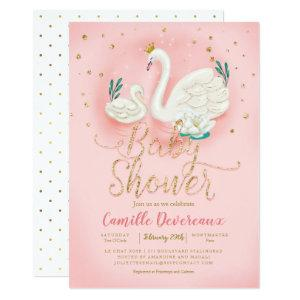 Swan Pond Gold Glitter Pink Baby Shower Invitation