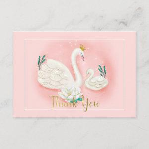 Swan Pond Gold Pink Baby Shower Thank You Enclosure Card