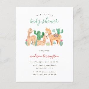 Sweet Alpaca Llama Cactus Boho Baby Shower Invitation Postcard