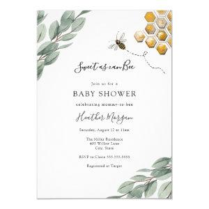Sweet as can Bee Eucalyptus Baby Shower Invitation