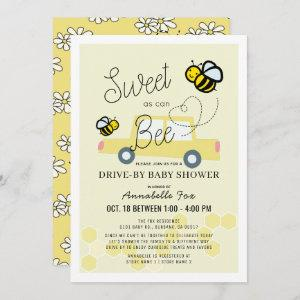 Sweet as can Bee Light Yellow Drive-by Baby Shower Invitation