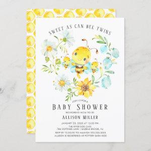 Sweet As Can Bee Twins Baby Shower Invitation