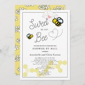 Sweet as can Bee White Baby Shower By Mail Invitation