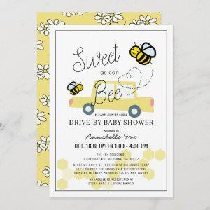 Sweet as can Bee White Drive-by Baby Shower Invitation