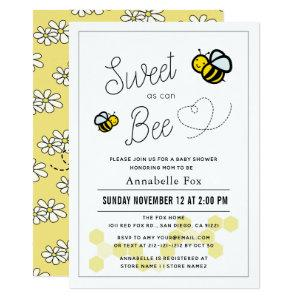 Sweet as can Bee White Yellow Baby Shower Invitation