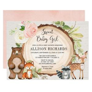 Sweet baby girl floral rustic woodland baby shower invitation