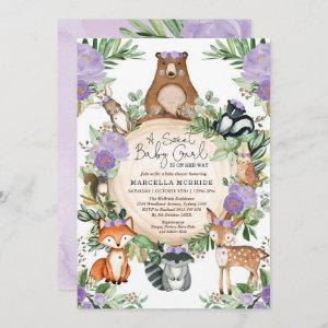 Sweet Baby Girl Purple Floral Woodland Shower Invitation