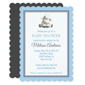Sweet Baby Lamb in Blue and Gray Baby Shower Invitation