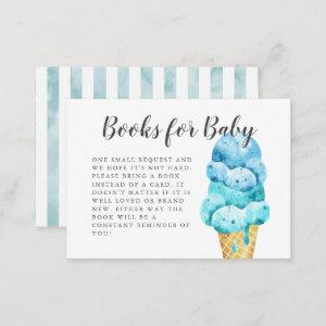 Sweet Blue Ice Cream Baby Shower Book Request Enclosure Card