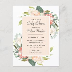 Sweet Blush & Peach Watercolor Floral Baby Shower Invitation Postcard
